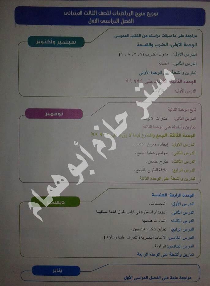توزيع منهج الرياضيات للصف الثالث الإبتدائي الترم الاول