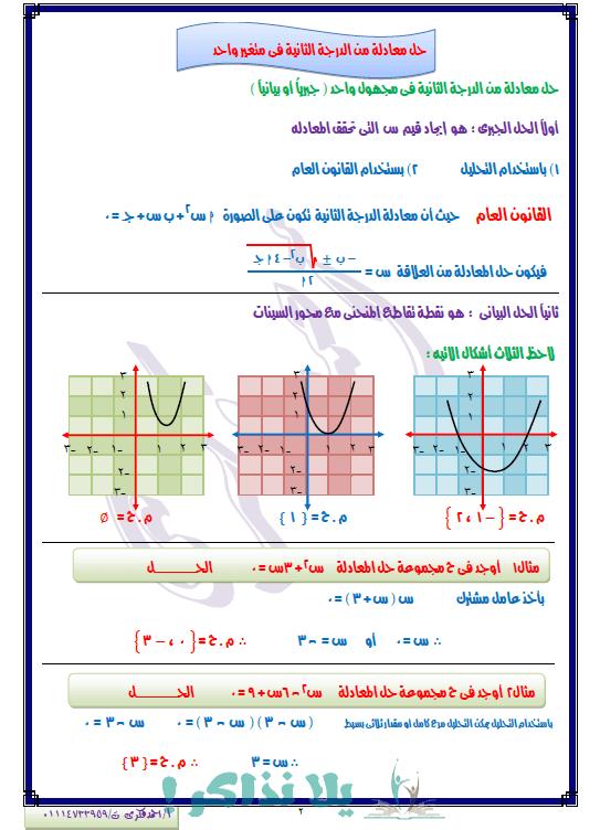 مذكرة جبر وحساب مثلثات للصف الاول الثانوي ترم اول