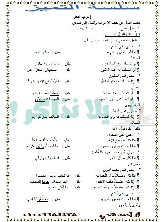 مذكرة شرح النحو للصف الثانى الثانوى الترم الاول