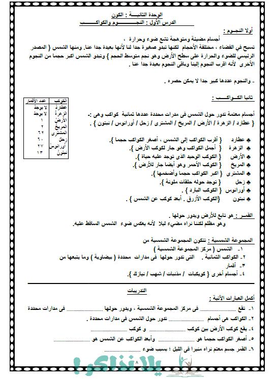 مراجعة علوم للصف الرابع الابتدائى الفصل الدراسى الاول