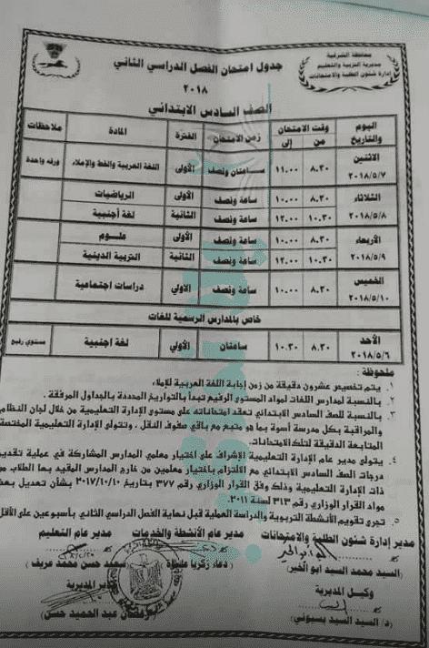 جدول امتحانات الصف السادس الابتدائي الترم الثاني 2018 محافظة الشرقية