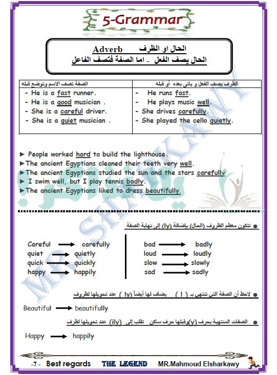 مذكرة لغة انجليزية للصف الاول الاعدادي ترم ثاني