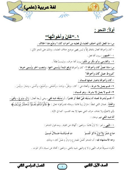 المراجعة النهائية لغة عربية علمي للصف الأول الثانوى الترم الثاني