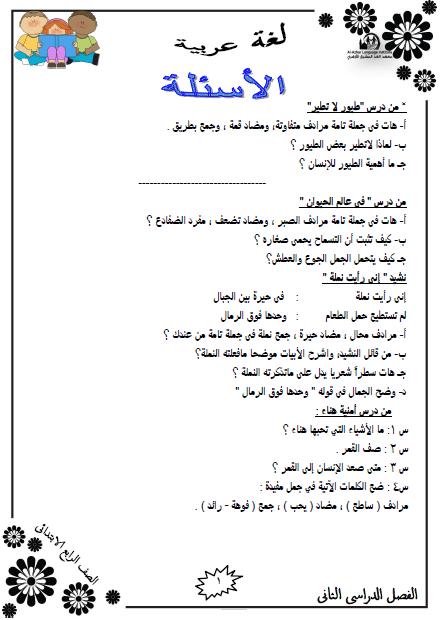 المراجعة النهائية لغة عربية للصف الرابع الإبتدائي الترم الثاني