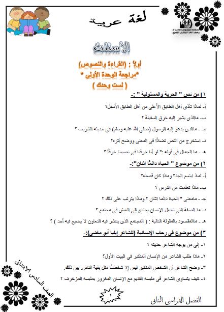 المراجعة النهائية لغة عربية للصف السادس الإبتدائي الترم الثاني
