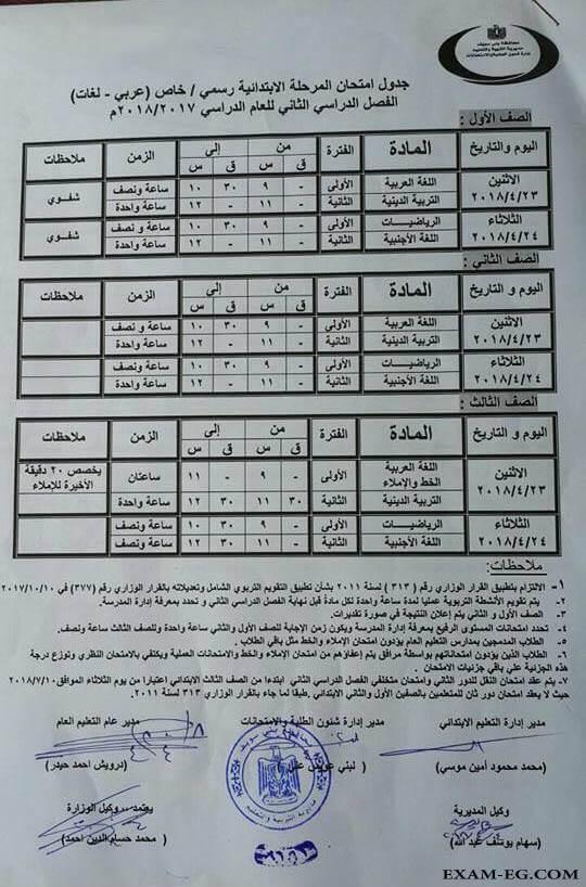 جدول امتحانات الصف الاول والثاني والثالث الابتدائي محافظة القاهرة