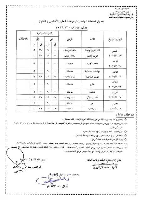 جدول امتحانات الصف الثالث الاعدادي الترم الاول 2019 محافظة الاسكندرية