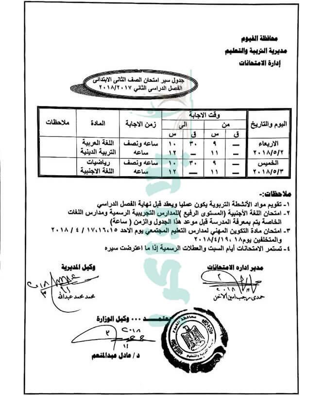 جدول امتحانات الصف الثاني الابتدائي 2018 اخر العام محافظة الفيوم