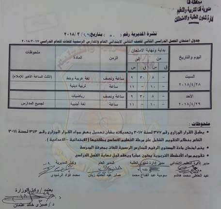 جدول امتحانات الصف الثاني الابتدائي 2018 اخر العام محافظة قنا