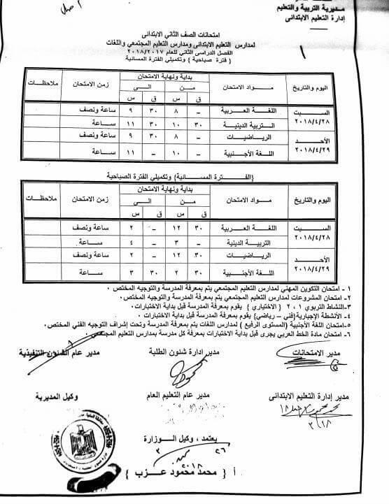 جدول امتحانات الصف الثاني الابتدائي 2018 الترم الثاني محافظة المنيا