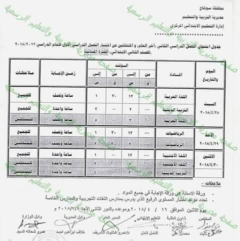 جدول امتحانات الصف الثاني الابتدائي 2018 الترم الثاني محافظة سوهاج