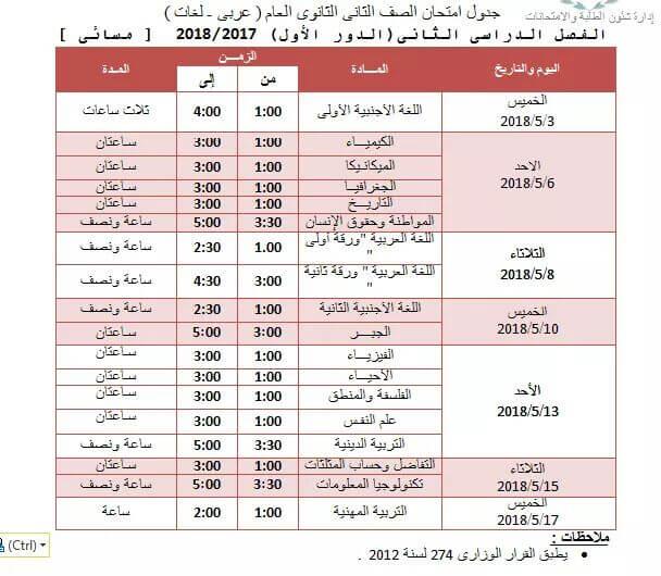 جدول امتحانات الصف الثاني الثانوي اخر العام 2018 محافظة الجيزة