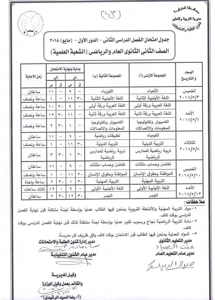 جدول امتحانات الصف الثاني الثانوي اخر العام 2018 محافظة المنوفية