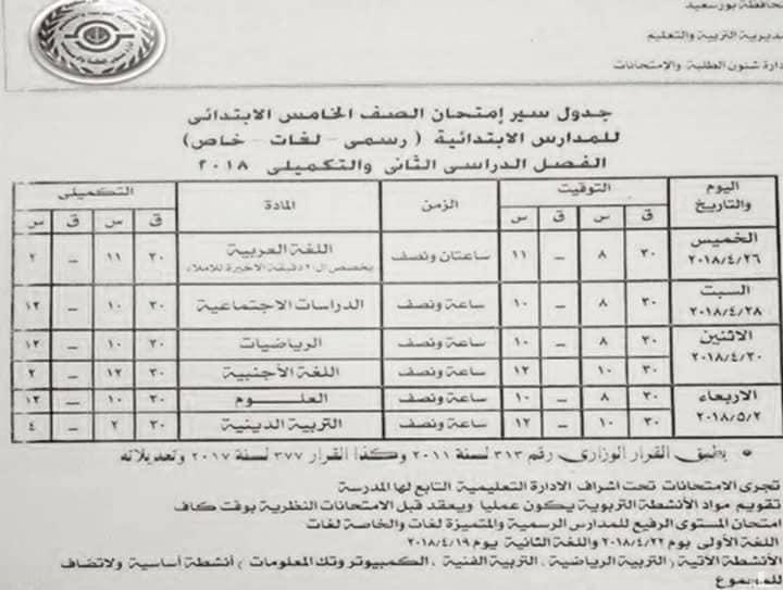 جدول امتحانات الصف الخامس الابتدائي 2018 اخر العام محافظة بورسعيد