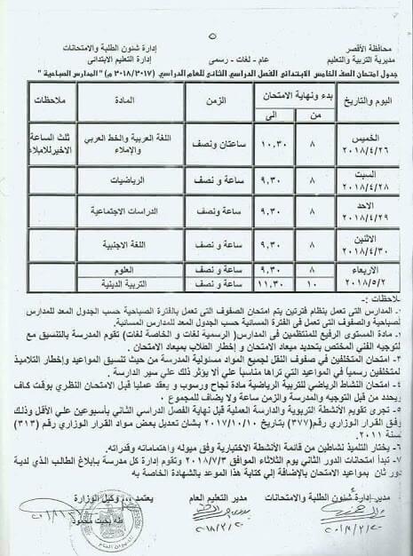 جدول امتحانات الصف الخامس الابتدائي اخر العام 2018 محافظة الاقصر