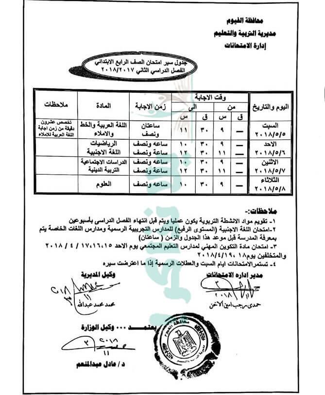 جدول امتحانات الصف الرابع الابتدائي 2018 اخر العام محافظة الفيوم