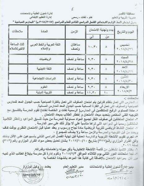 جدول امتحانات الصف الرابع الابتدائي اخر العام 2018 محافظة الاقصر