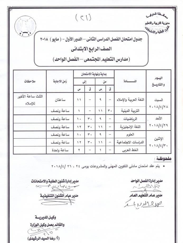 جدول امتحانات الصف الرابع الابتدائي اخر العام 2018 محافظة المنوفية