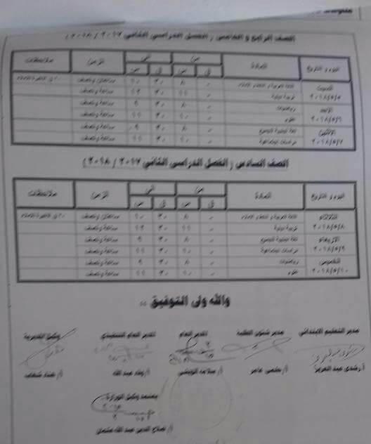 جدول امتحانات الصف الرابع والخامس الابتدائي 2018 الترم الثاني محافظة كفر الشيخ