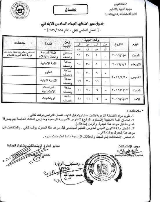 جدول امتحانات الصف السادس الابتدائي الترم الاول 2019 محافظة الفيوم