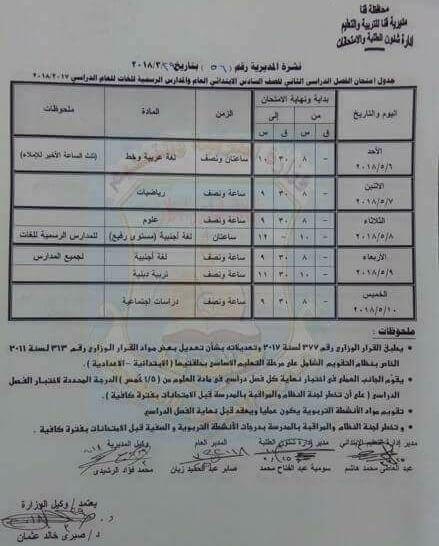 جدول امتحانات الصف السادس الابتدائي 2018 اخر العام محافظة قنا