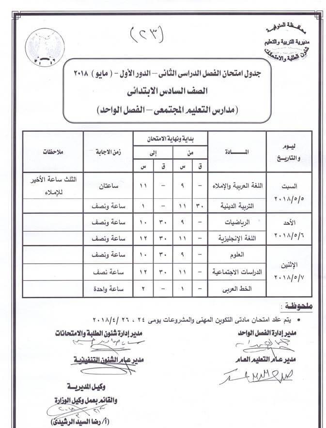 جدول امتحانات الصف السادس الابتدائي اخر العام 2018 محافظة المنوفية