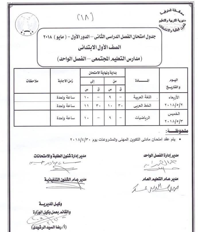 جدول امتحانات محافظة المنوفية الصف الأول الابتدائي 2018 اخر العام