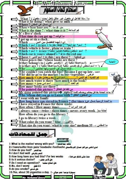 مذكرة لغة انجليزية للصف الثالث الاعدادي الترم الأول