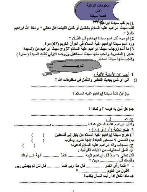 مذكرة دين للصف الرابع الابتدائي الترم الأول