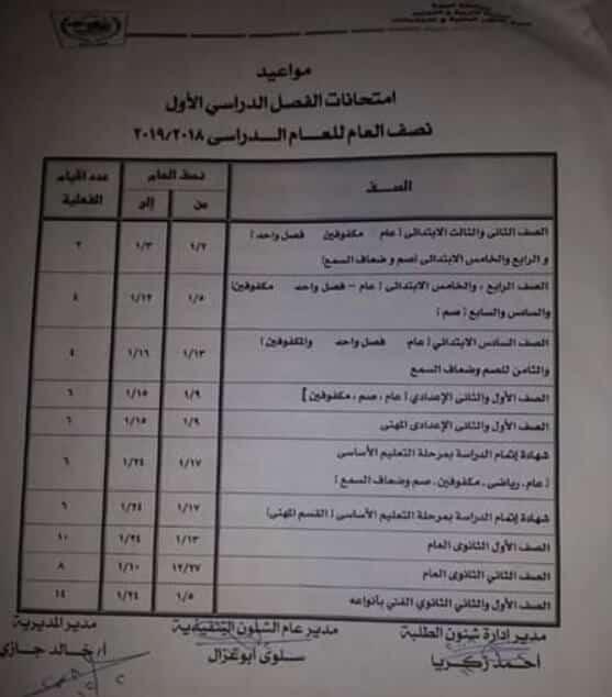 جدول امتحانات الترم الاول 2019 محافظة الجيزة