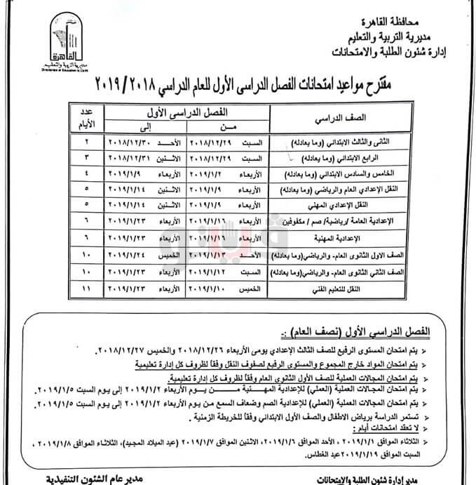 جدول امتحانات الترم الاول 2019 محافظة القاهرة