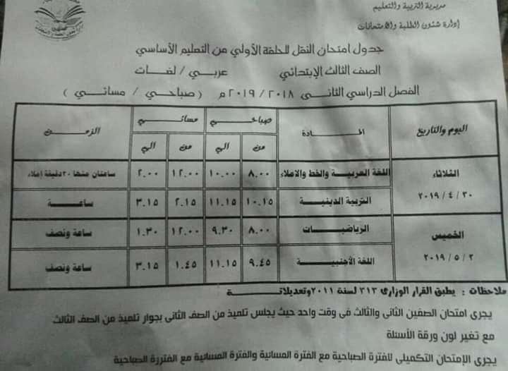 جدول امتحانات الصف الثالث الابتدائي الترم الثاني 2019 محافظة الدقهلية