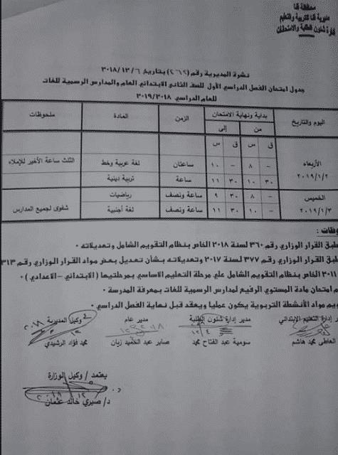 جدول امتحانات الصف الثاني الابتدائي الترم الاول 2019 محافظة قنا