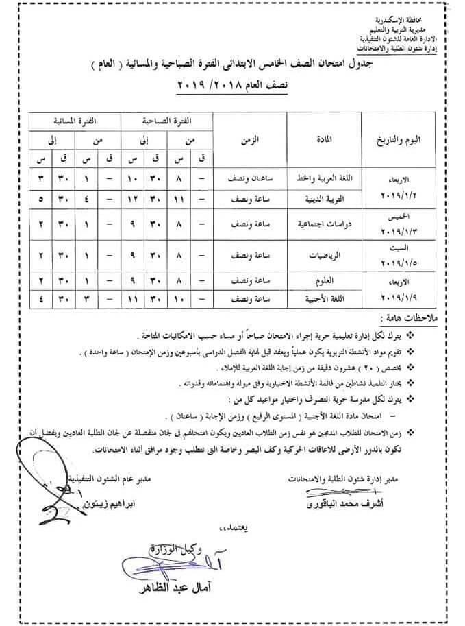 جدول امتحانات الصف الخامس الابتدائي الترم الاول 2019 محافظة الاسكندرية