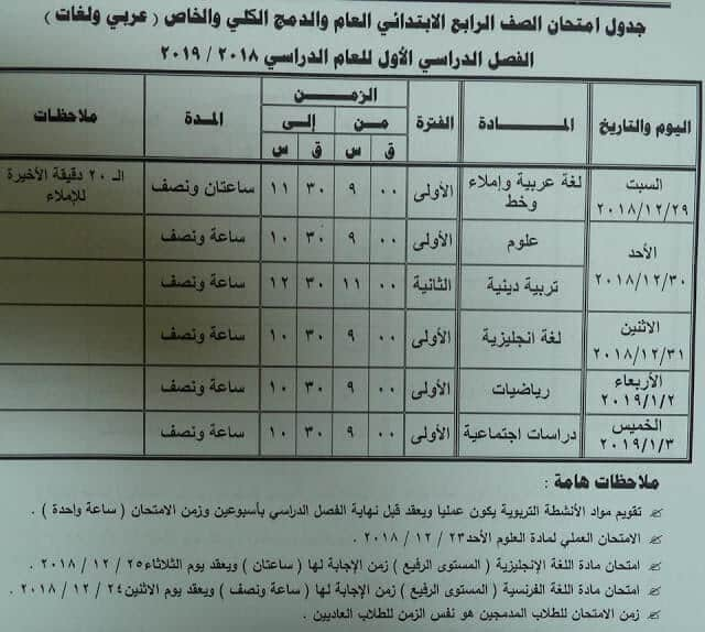 جدول امتحانات الصف الرابع الابتدائي الترم الاول 2019 محافظة مطروح
