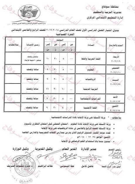 جدول امتحانات الصف الرابع والخامس الابتدائي الترم الاول 2019 محافظة سوهاج
