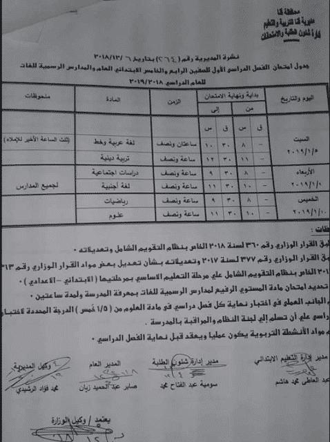 جدول امتحانات الصف الرابع والخامس الابتدائي الترم الاول 2019 محافظة قنا