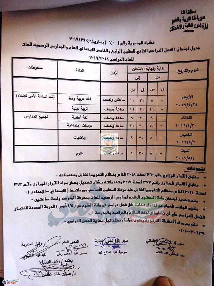 جدول امتحانات الصف الرابع والخامس الابتدائي الترم الثاني 2019 محافظة قنا