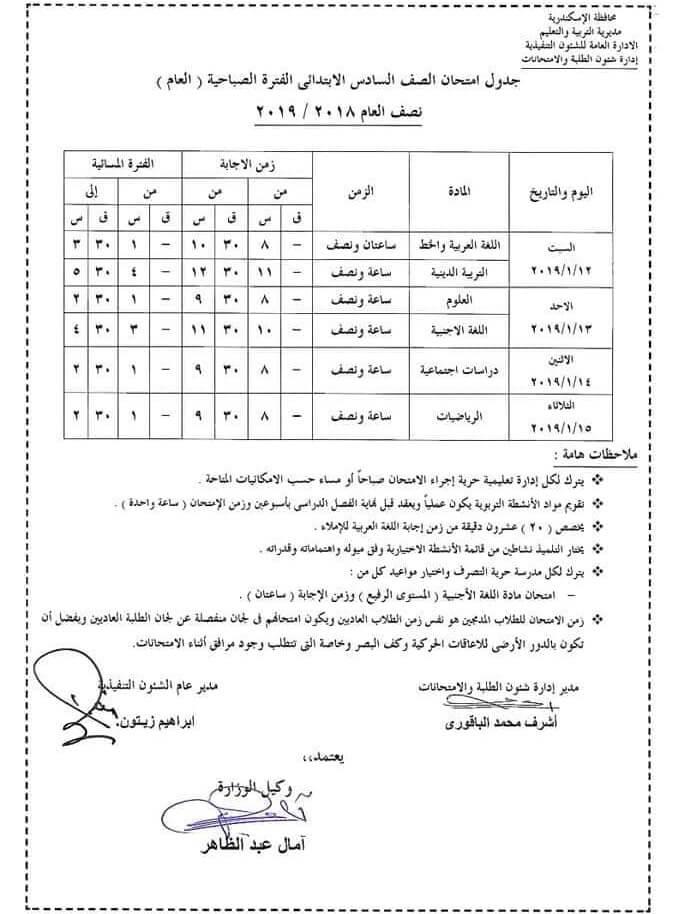 جدول امتحانات الصف السادس الابتدائي الترم الاول 2019 محافظة الاسكندرية