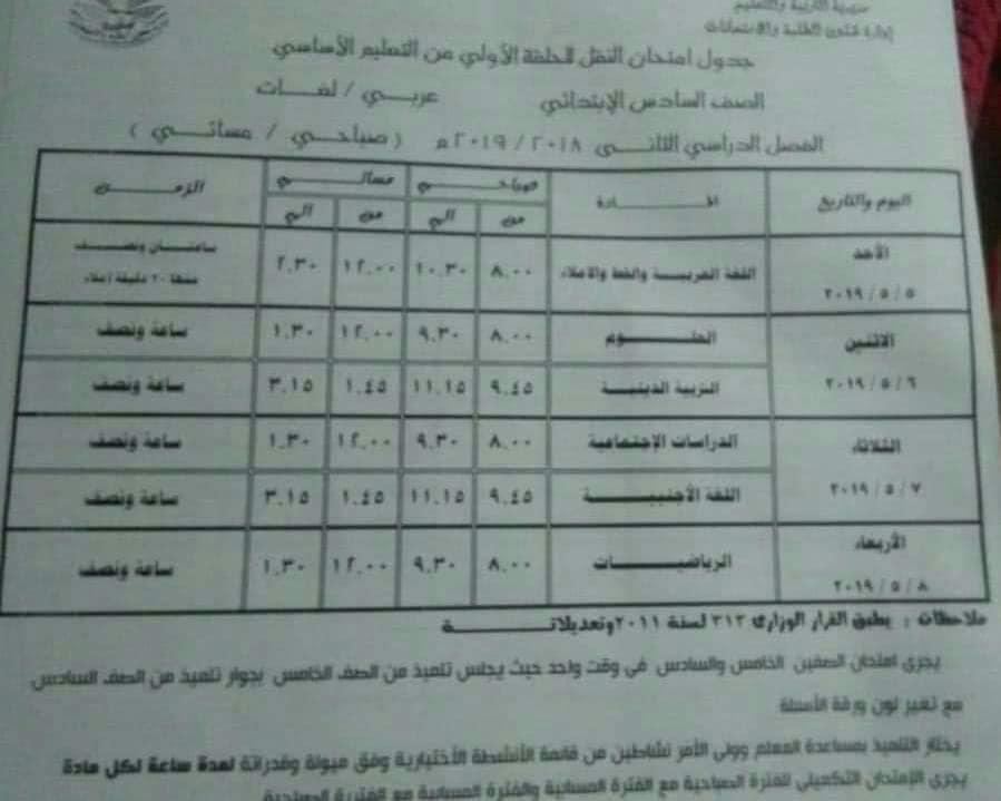 جدول امتحانات الصف السادس الابتدائي الترم الثاني 2019 محافظة الدقهلية