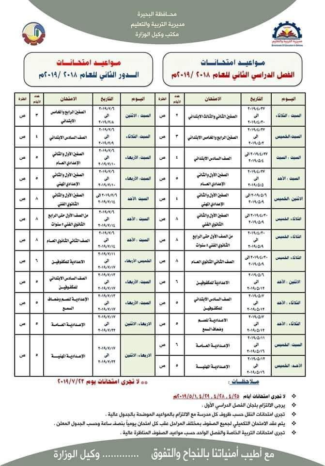 جدول امتحانات اخر العام 2019 محافظة البحيرة