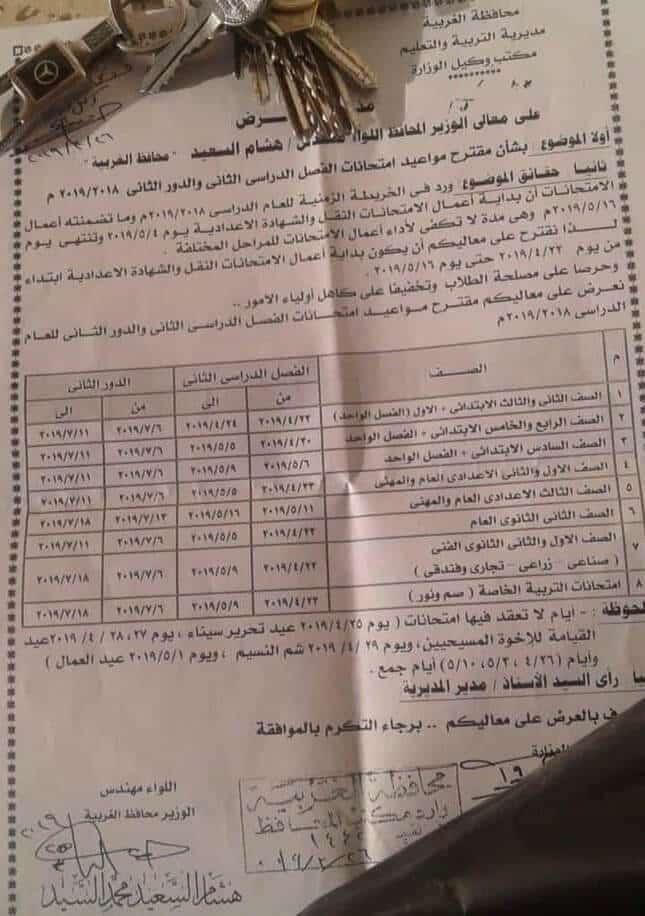 جدول امتحانات اخر العام 2019 محافظة الغربية