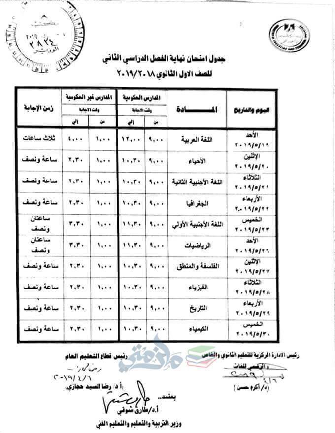 جدول امتحانات الصف الاول الثانوي الترم الثاني 2019