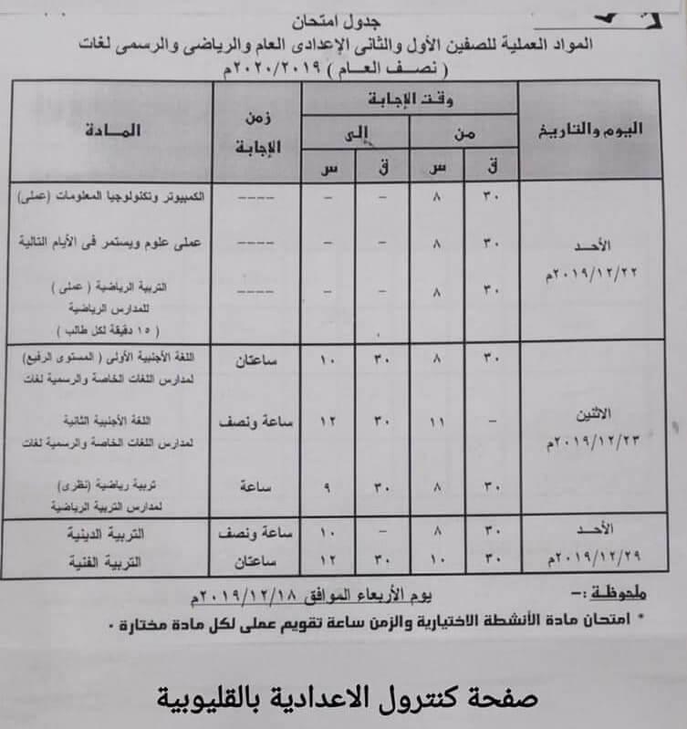 جدول امتحانات الصف الاول والثاني الاعدادي نصف العام محافظة القليوبية 2020 العملي