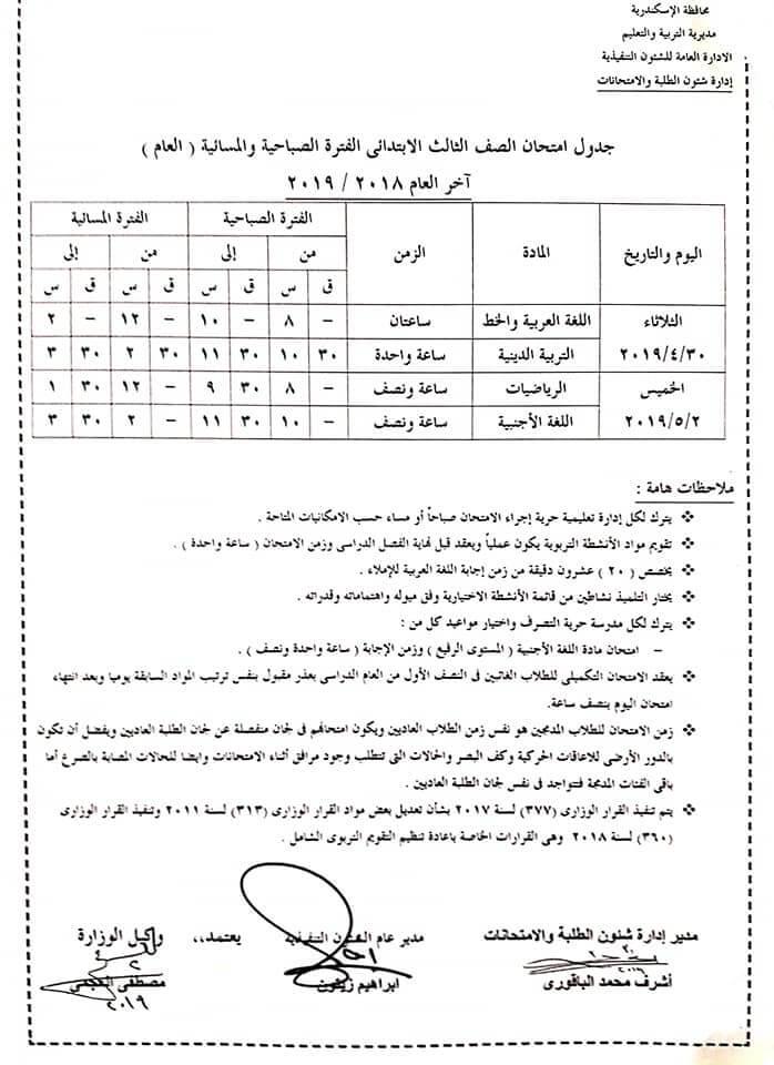جدول امتحانات الصف الثالث الابتدائي الترم الثاني 2019 محافظة الاسكندرية