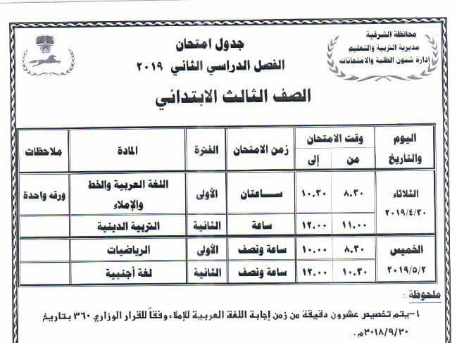 جدول امتحانات الصف الثالث الابتدائي الترم الثاني 2019 محافظة الشرقية