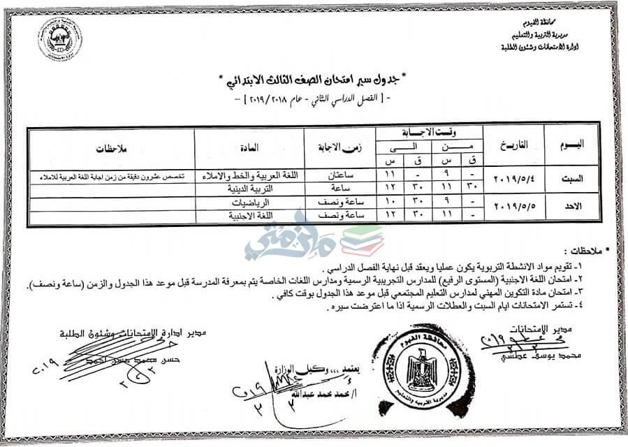 جدول امتحانات الصف الثالث الابتدائي الترم الثاني 2019 محافظة الفيوم