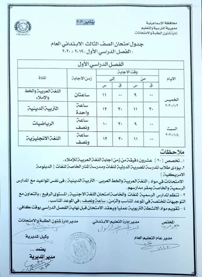 جدول امتحانات الصف الثالث الابتدائي نصف العام محافظة الاسماعيلية 2020