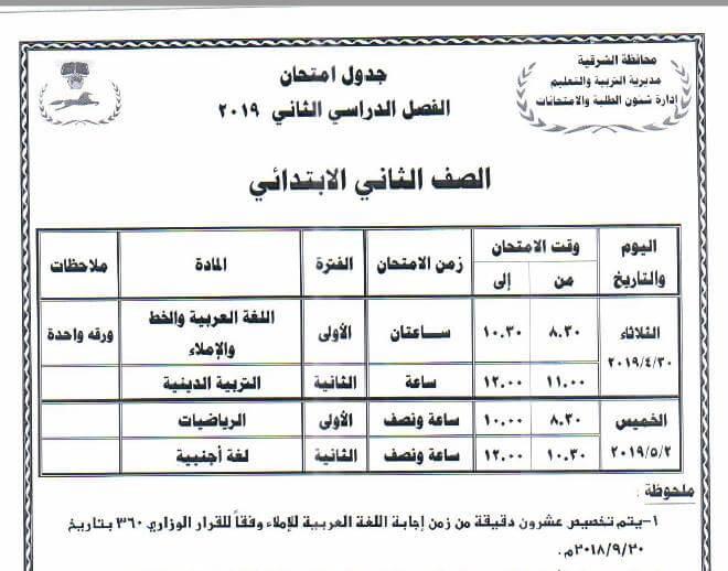 جدول امتحانات الصف الثاني الابتدائي الترم الثاني 2019 محافظة الشرقية