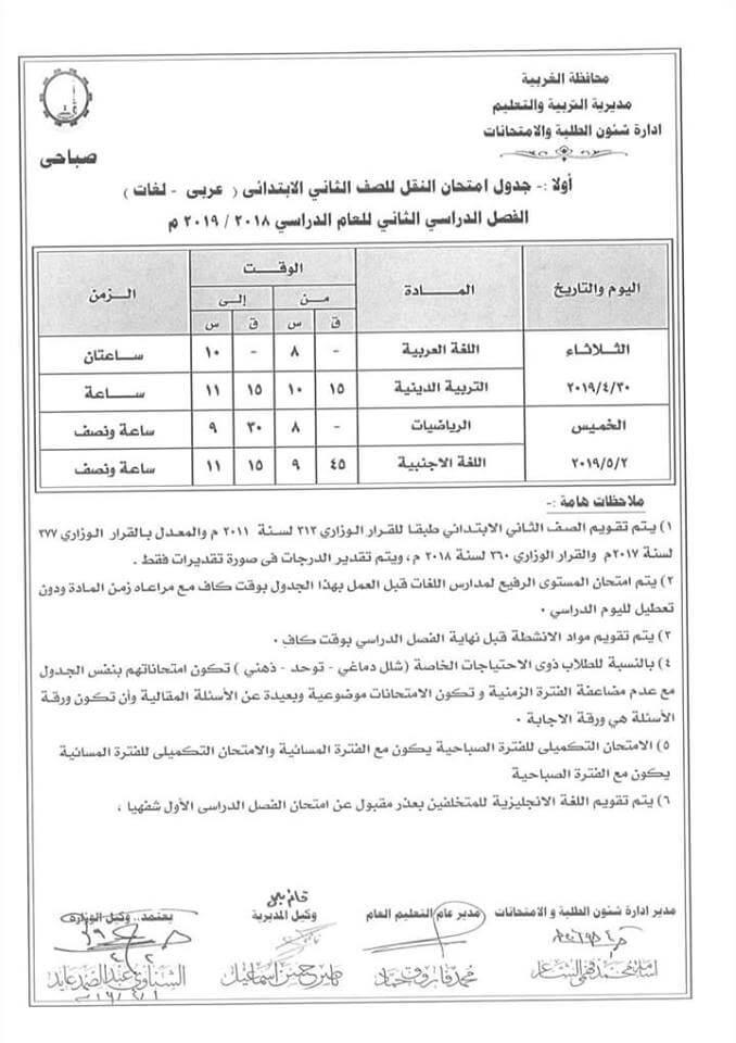 جدول امتحانات الصف الثاني الابتدائي الترم الثاني 2019 محافظة الغربية